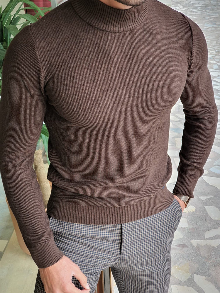 Brown Patterned Turtleneck