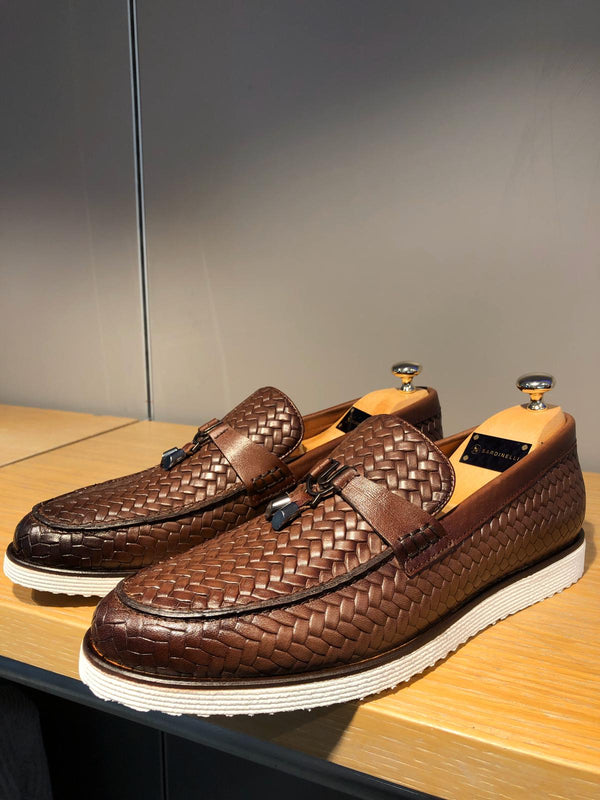 Knitted Brown Leather