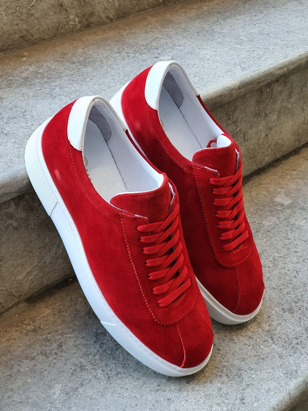 Red Suede Leather Sneakers