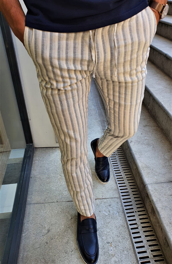 Striped Navy Linen Pants