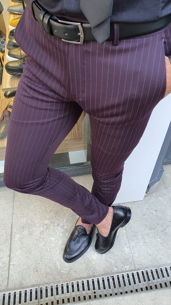 Claret Red Striped Pants