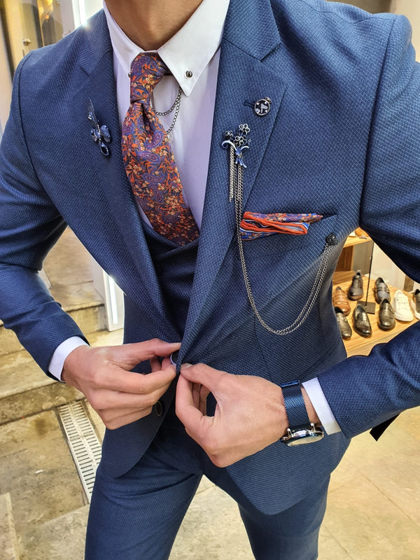 Indigo Patterned Suit