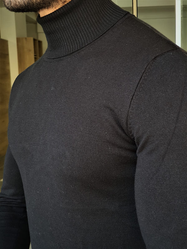 Black Patterned Turtleneck