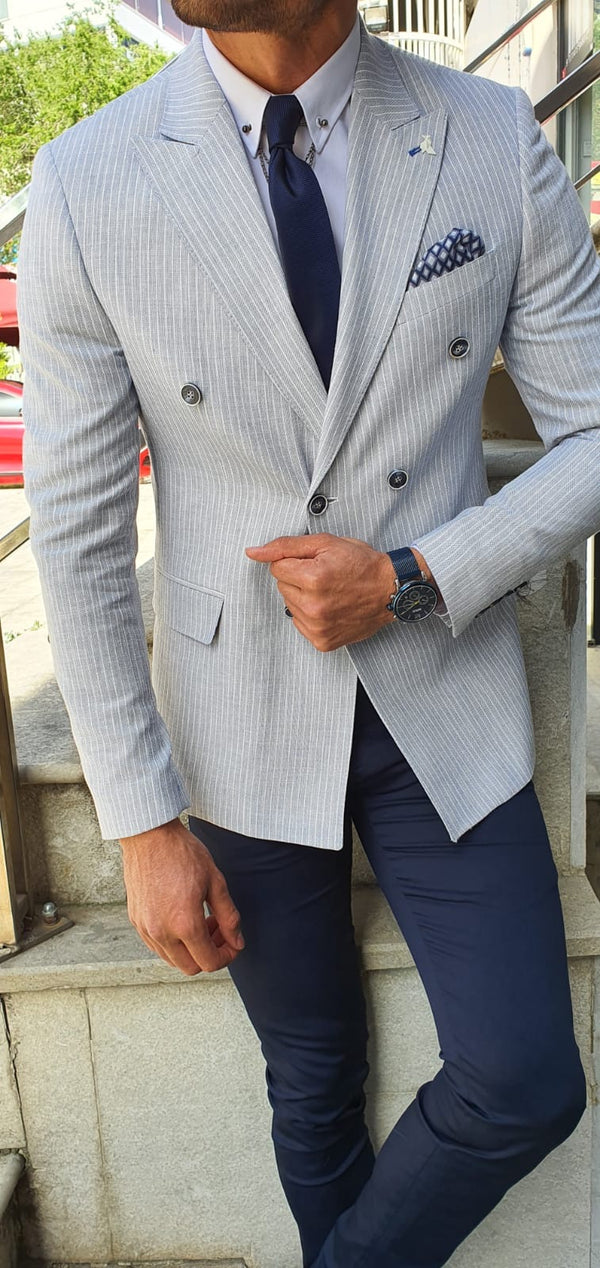 Striped Blue Suit Jacket