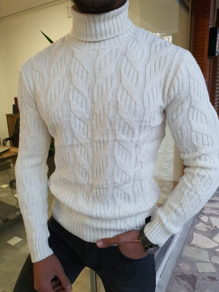 Ecru Patterned Turtleneck