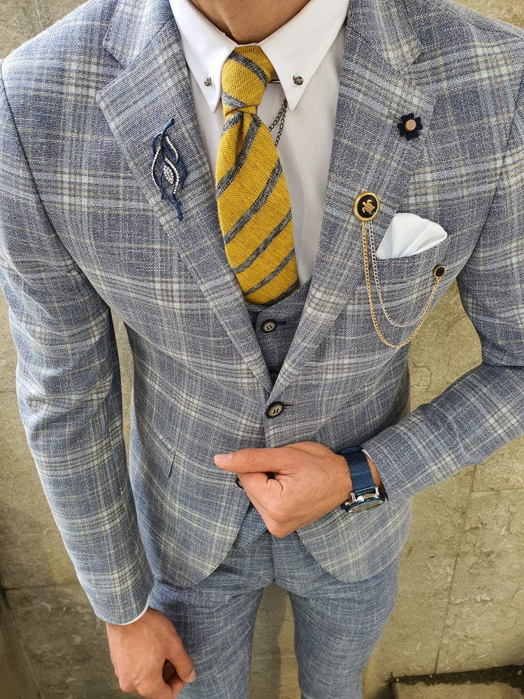 Plaid Light Blue Suit
