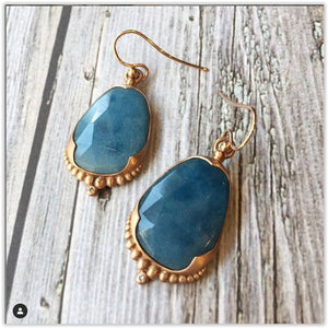 Blue Denim Quartz 14k rose gold earrings Earrings