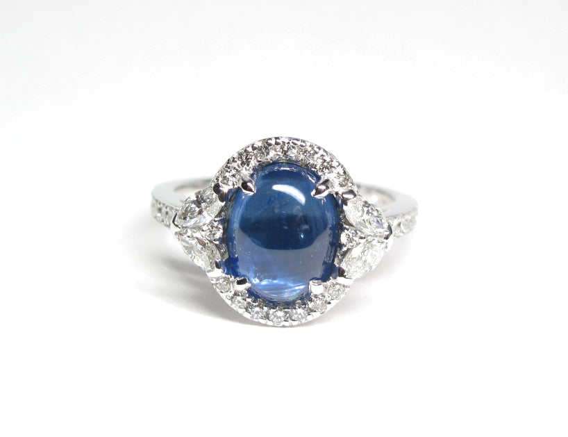 Natural Blue 2.76 carat sapphire and Diamond ring