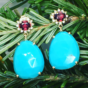 Turquoise-Ruby Diamond Earrings, 14ky gold