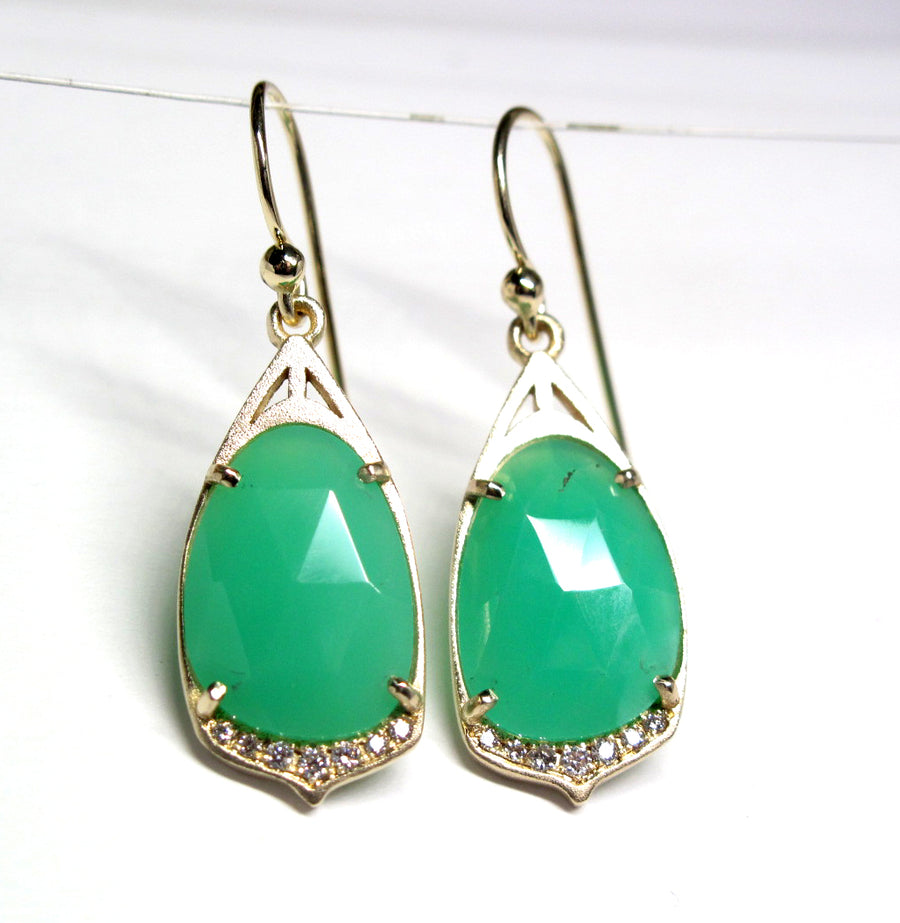 """Cathedral"" Drop Earrings with Chrysoprase, diamond in 14ky gold earrings"