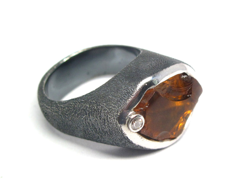 Madiera Citrine Natural gemstone and diamond ring in Antiqued sterling silver