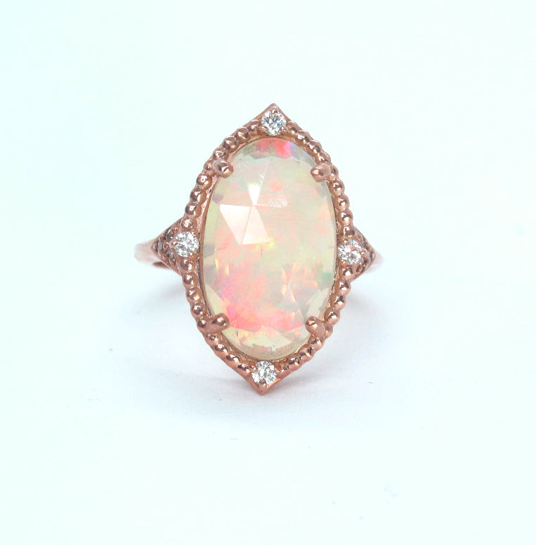 5 carat Welo Opal and diamond 14k rose gold ring
