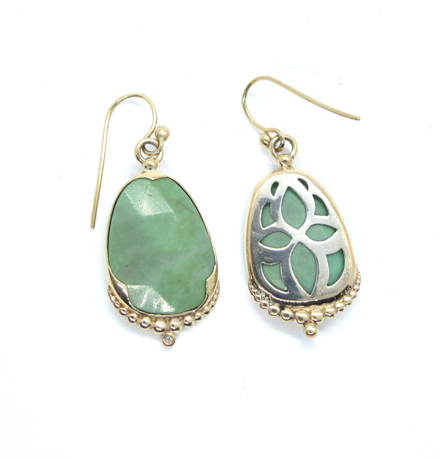 Green Turquoise and diamond Earrings in 14ky gold