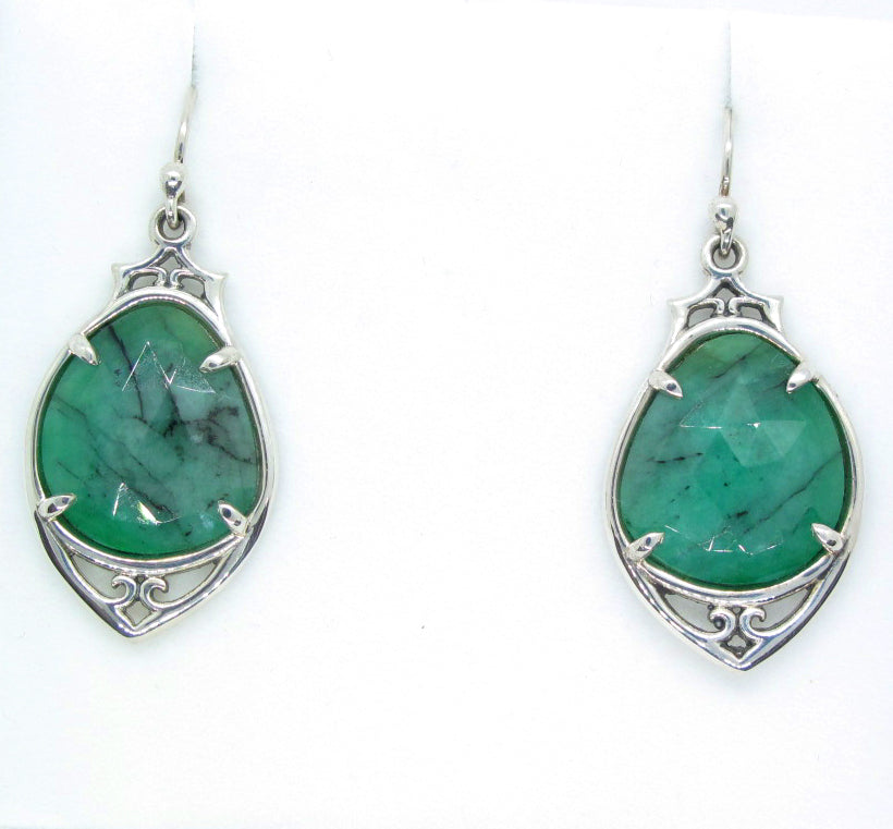 Emerald Slice Earring in sterling silver