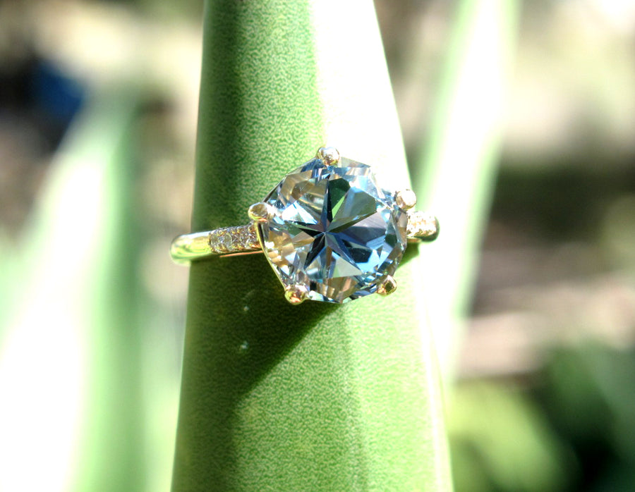 Lone star cut blue topaz and diamond 14k gold ring