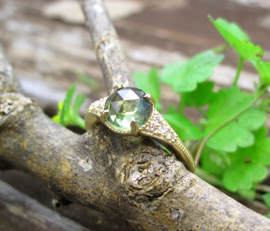 Green Sapphire Rose cut and diamond ring