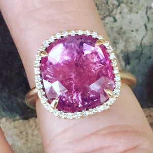 4 carat pink tourmaline slice and diamond halo ring in 14ky gold