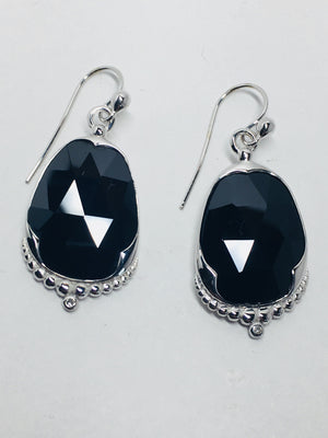 Black Onyx and diamond Earring 14k white  and 14k yellow gold earrings