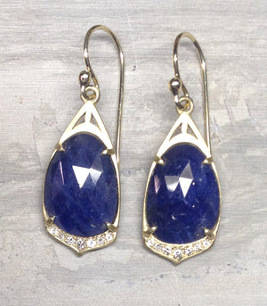 """Cathedral""  Drop Earrings with 10.5 carats slice Sapphire, diamond, 14ky gold earrings"