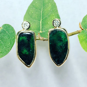 6.5 carat Emerald Slice and diamond 14ky gold earrings