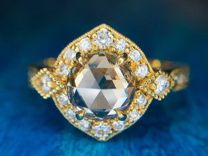 1.37 carat Champagne Rose cut diamond 18ky gold Engagement ring