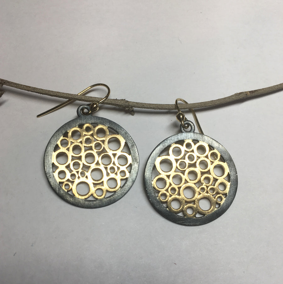 """Jubilee ""   Circle Round mesh 14ky gold and antique silver earrings"