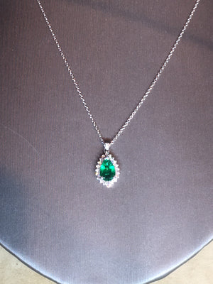 1.16 carat Fine Emerald pear cut diamond pendant in 14kw and 14ky gold