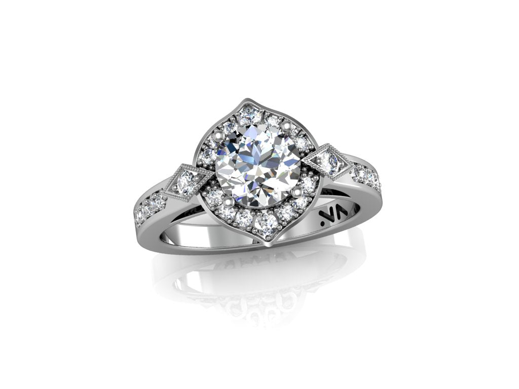 """LaLee"" Sem Mount Diamond engagement ring. Fits 1 carat center stone"