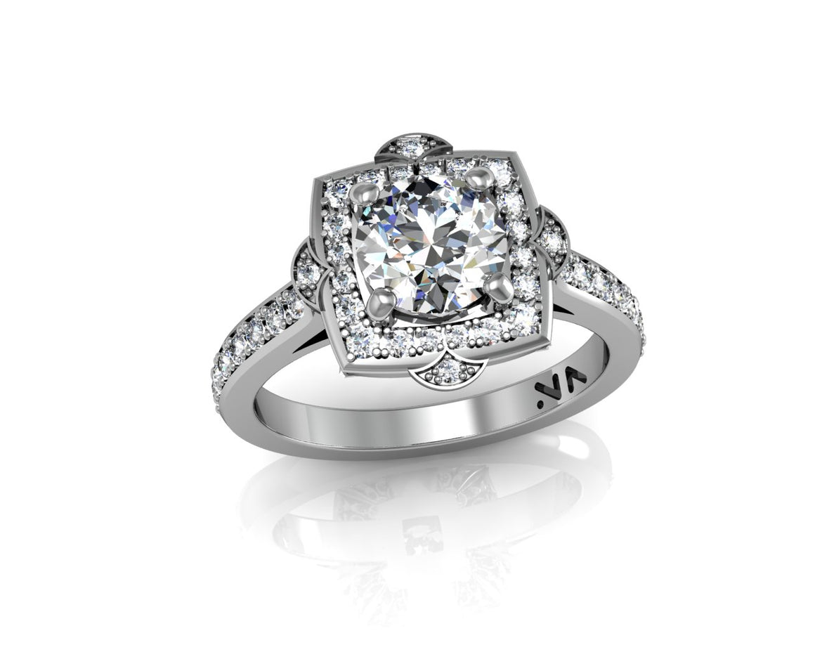 """Laurel"" Semi Mount diamond engagement ring. Fits 1 carat center stone"