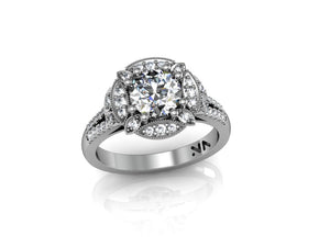 """Villa"" Semi Mount diamond engagement ring. Fits 1 carat center stone"