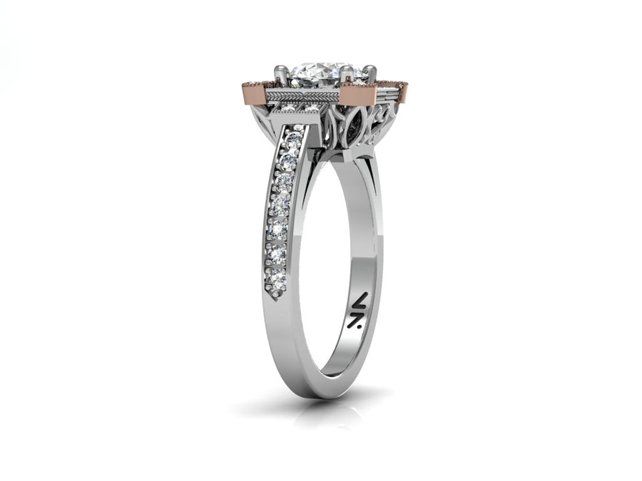 """Ladera"" Semi Mount diamond engagement ring. Fits 1 carat center stone"