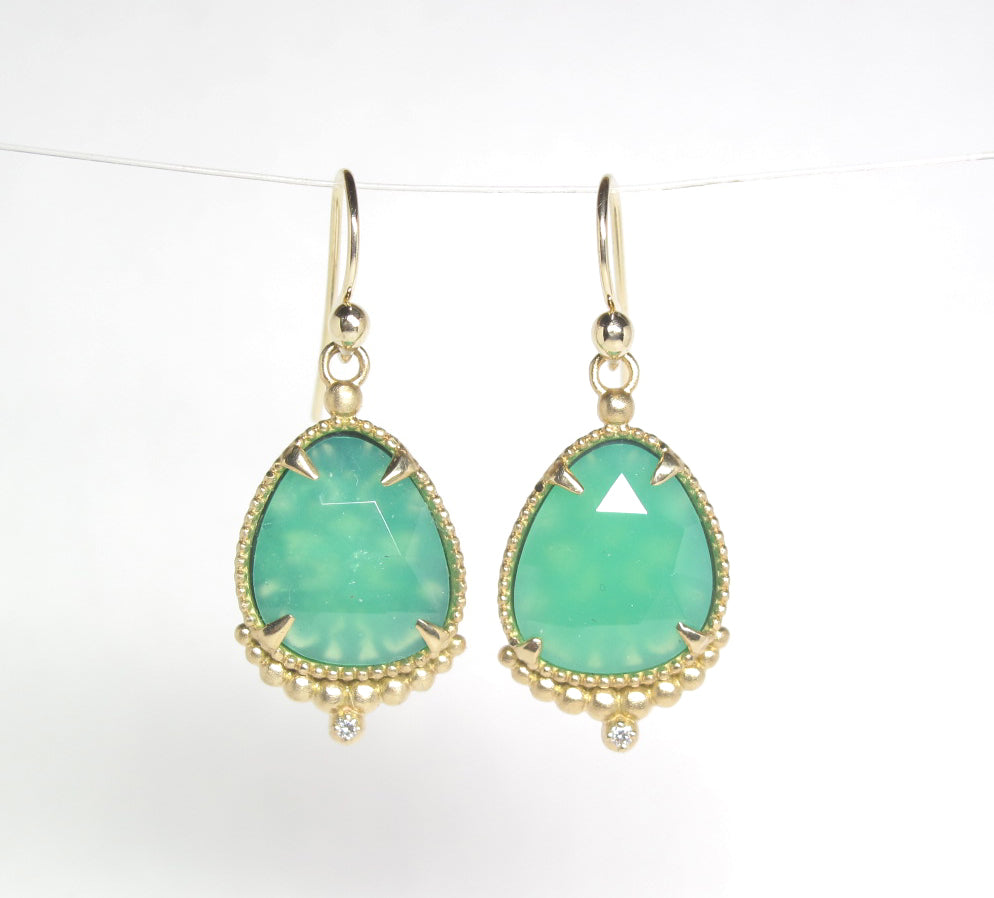 Chrysoprase Earrings in 14ky gold and diamond earrings