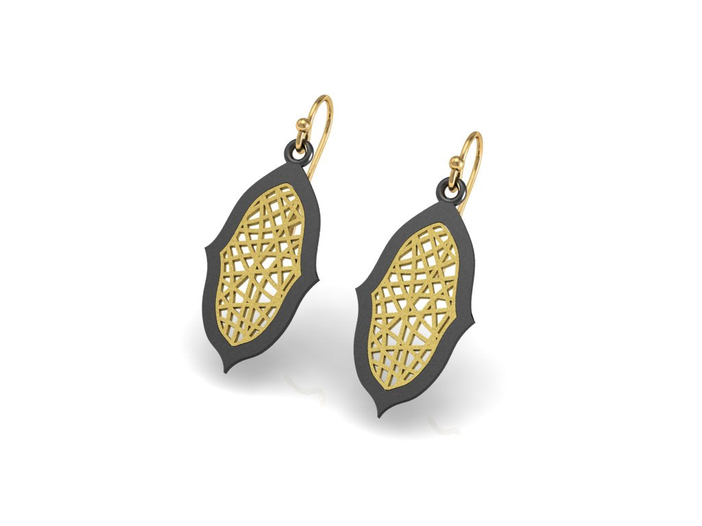 """Ovalesque"" Sea Fan Coral pattern 14k gold drop earrings and Antique silver"
