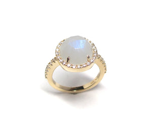 """Rose Cut Moonstone Diamond Halo ring 14k gold"
