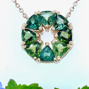 Multi Color Green Tourmaline Trillion Pendant