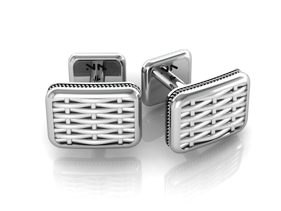 Classic Basket Weave Texture Cuff Links, Size 10