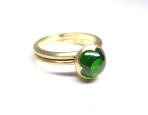 Chrome Diopside round cabachon 14ky gold signature ring