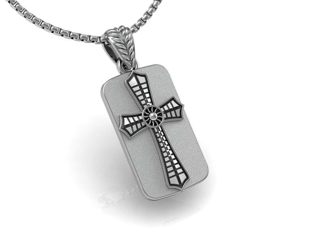Aerial Cross Dog Tag, with Chain 24""