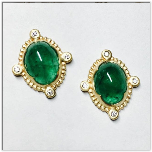 4.46 carat Emerald Cabochon and diamond earrings in 14k yellow gold