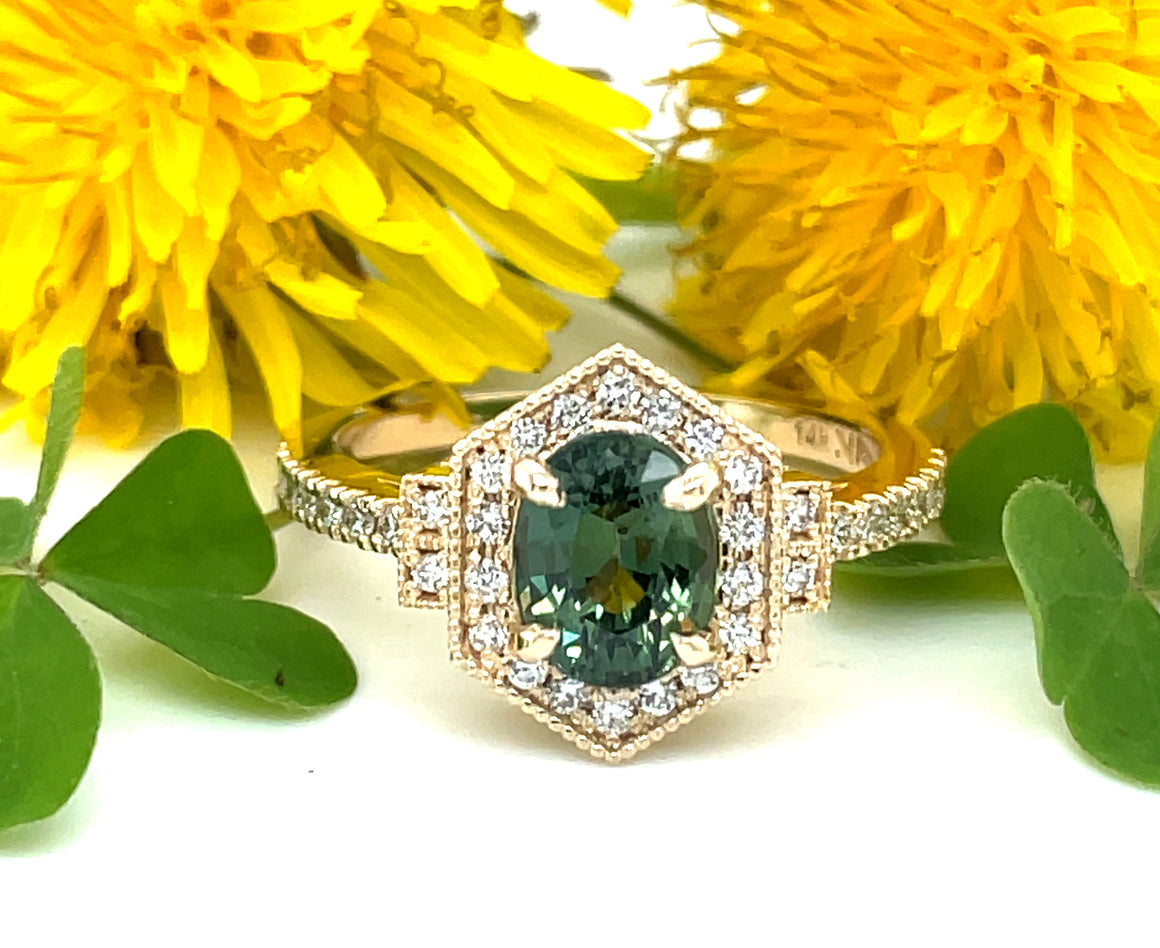 Fancy Green Oval Sapphire and Diamond Engagement Ring