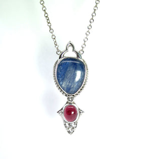 Kyanite and Mozambique Garnet in sterling silver Pendant