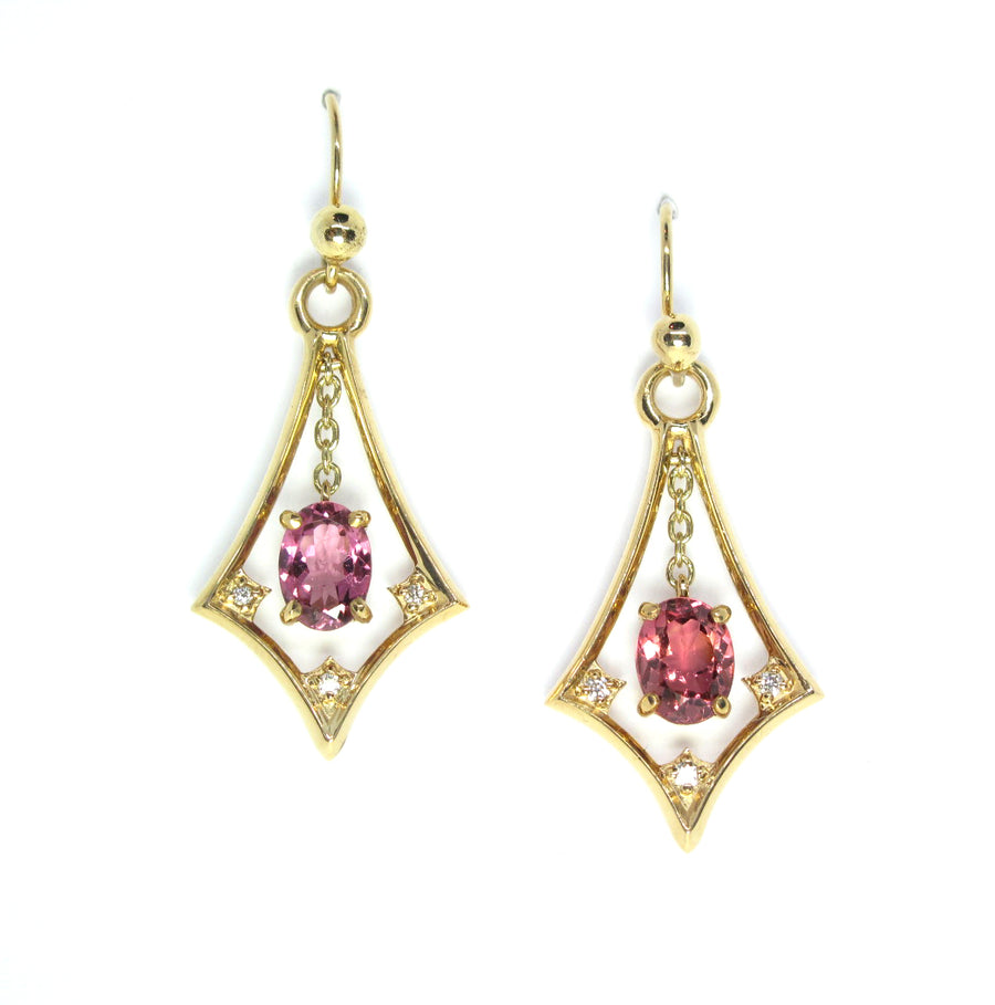 Pink Tourmaline Dangle earrings in 14ky gold and diamond