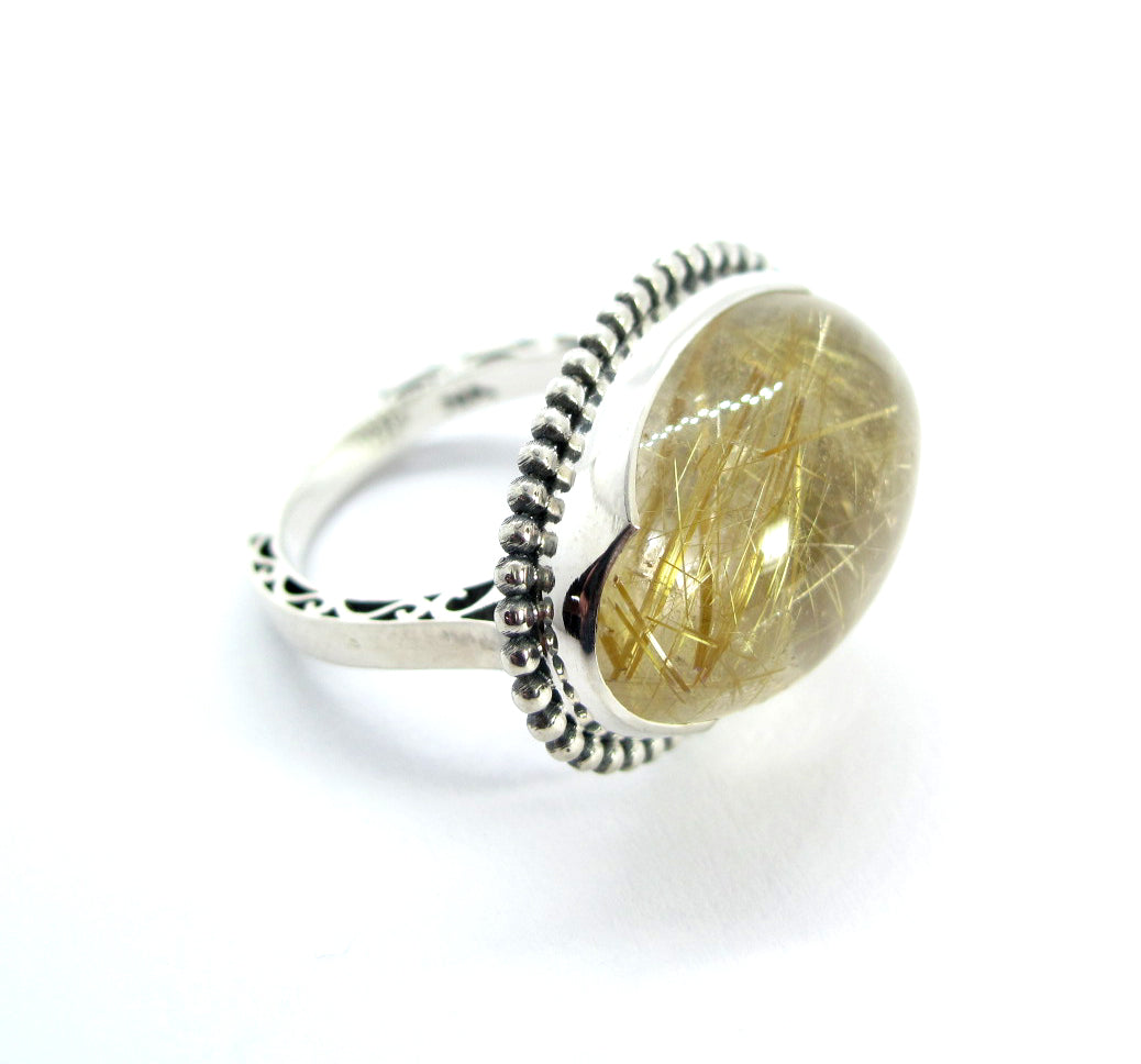 Rutilated Quartz Cabachon ring in sterling silver, Size 7