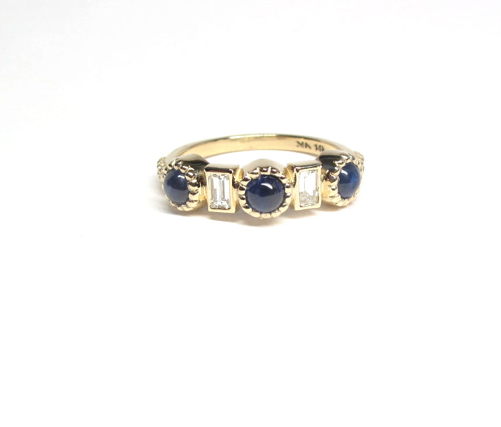 Cabochon sapphire and diamond baguette ring in 14ky