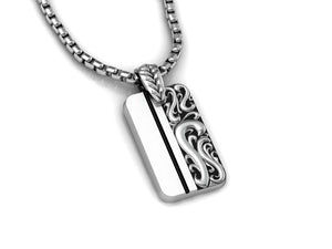 Classic Scroll Dog Tag, with Chain 24""