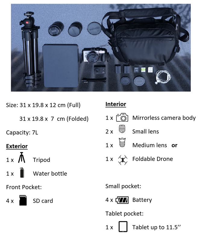 Pro Camera Sling Bag Specifications