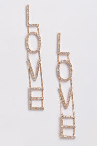 Kiley Gold Rhinestone LOVE Drop Earrings