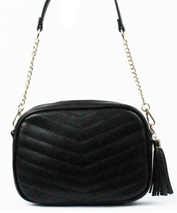 Kiarra Stormy Black Quilted Crossbody