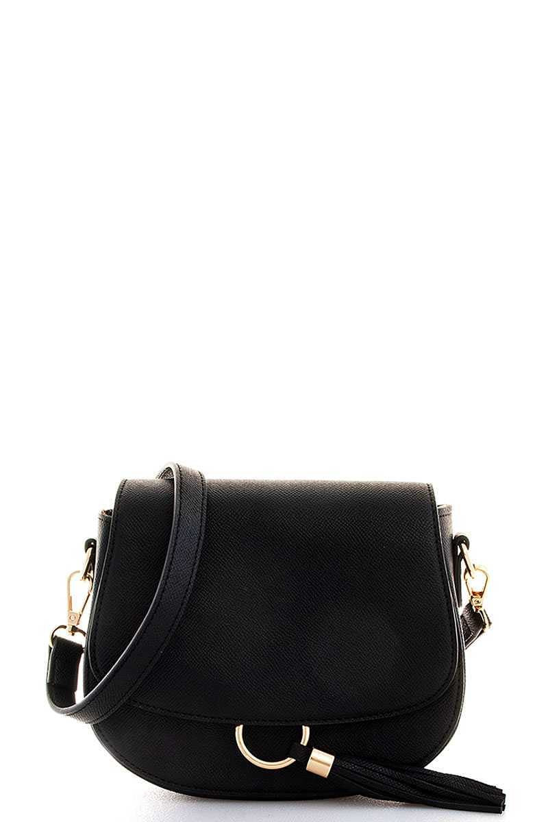 Kacy Black Tassel Crossbody