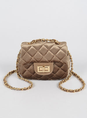 Kelsey Velvet Quilted Mini Bag